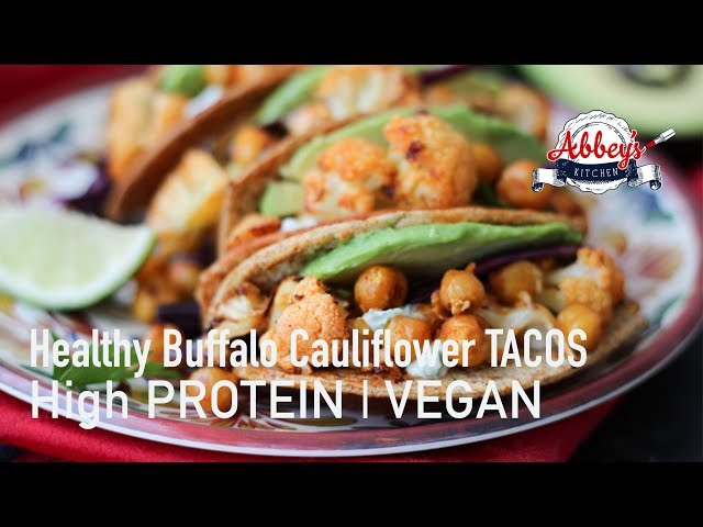 VEGAN Buffalo Cauliflower & Chickpea Hard TACOS | High PROTEIN | Healthy