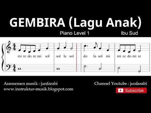 Notasi Balok Gembira (lagu Anak) - Tutorial Piano Grade 1 - Ciptaan At.mahmud
