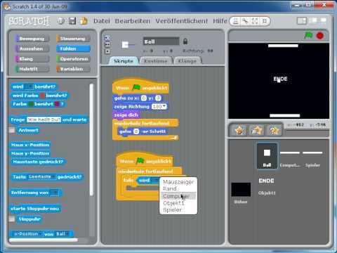 scratch spiel pingpong programmierung youtube