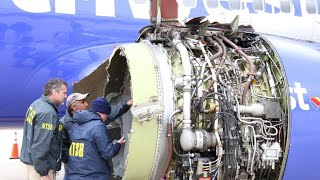 How could an engine's fan blade failure lead to a woman nearly being sucked out of a plane?