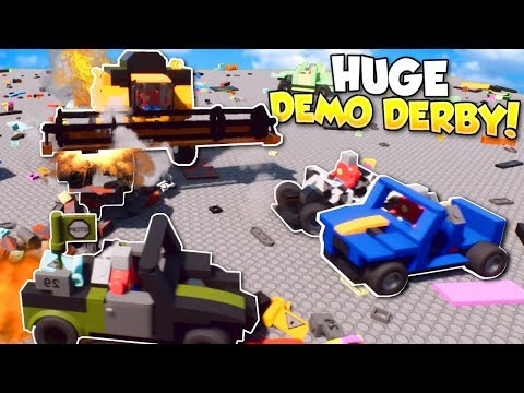 HUGE DEMOLITION DERBY - Brick Rigs multiplayer Gameplay - Lego Demolition Derby & Race challenge