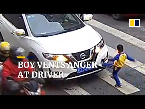Boy Vents Anger At Driver After Car Sends His Mother Flying