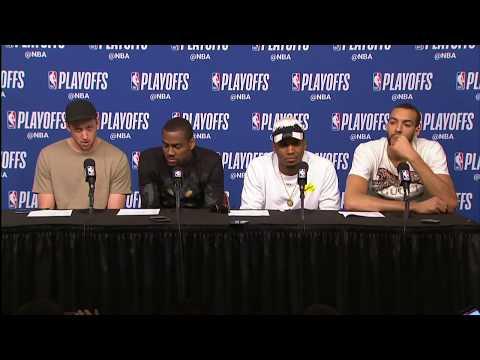 Joe Ingles, Alec Burks, Donovan Mitchell, & Rudy Gobert Postgame Interview | Jazz vs Rockets Game 2