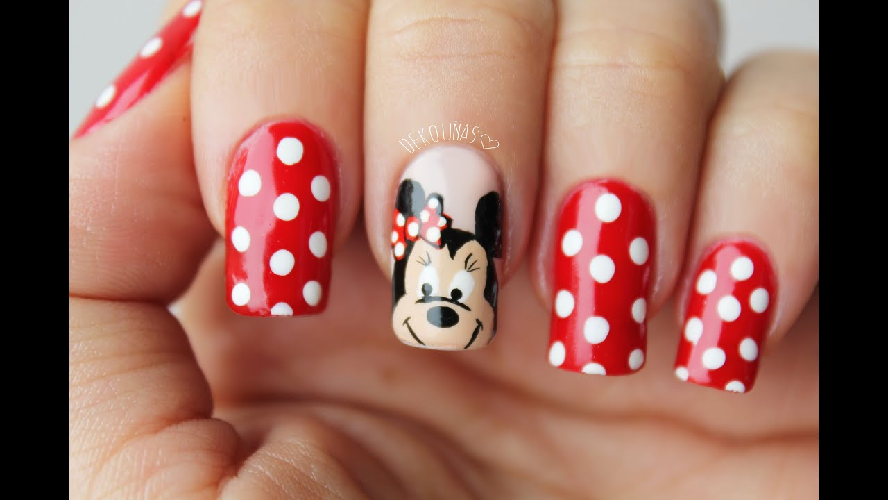 Minnie mouse nail art / Decoracion de uñas minnie mouse - YouTube