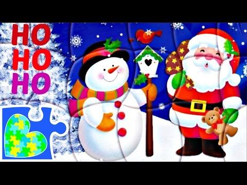 SANTA and FROSTY PUZZLE GAME FOR KIDS with Itsy Bitsy Spider Music! Rompecabezas de Papá Noel!