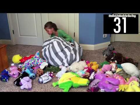 兒童毛絨玩具小號收納袋 毛絨玩具存儲 Storage Bean Bag 帆布收納袋 家居用品收納 大容量球狀 帶提手拉鍊