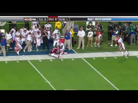 Major Wright of Florida Gators - Big Hit on Manny Johnson in 2009 BCS National Championship
