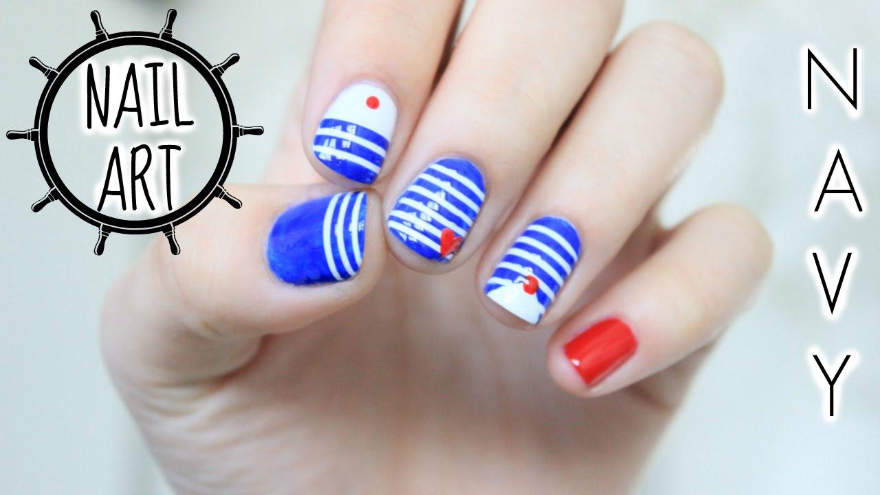 Navy Nail Art Lisa Blabla Youtube