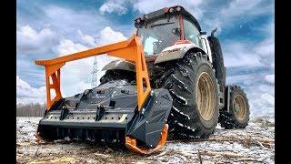 Трактор VALTRA T234 с мульчером TMC Cancela на удалении порубочных остатков, пней. Расчистка под ЛЭП