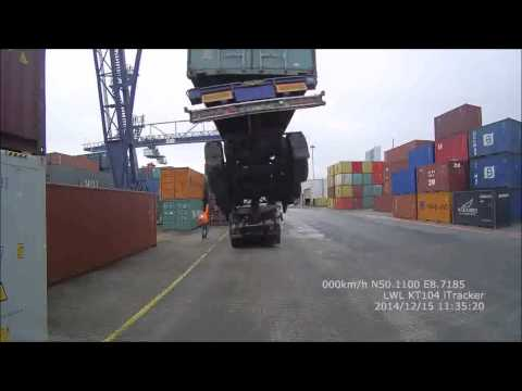 Truck lifted up at container dock
