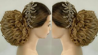 bridal joda bun hairstyle,messy bun hairstyle tutorial,bridal easy hairstyle vedio,trending hairstyl
