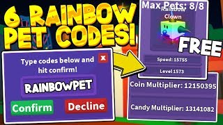 ALL 6 SECRET RAINBOW PET CODES IN CANDY COLLECTING SIMULATOR! *12 MILLION MULTIPLIER*Roblox