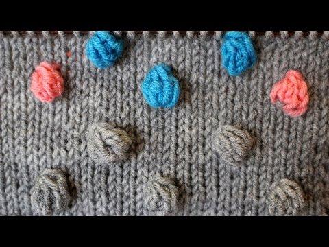 Схема узора вязания спицами шишечки