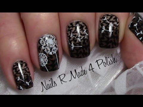 tiermuster n gel mit pusteblume stamping nageldesign f r kurze n gel easy animal flower. Black Bedroom Furniture Sets. Home Design Ideas