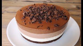 Торт БЕЗ ВЫПЕЧКИ Три шоколада! No-bake triple chocolate mousse cake