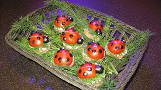 Ladybugs sandwiches on holiday. Meat pie. Yeast dough.