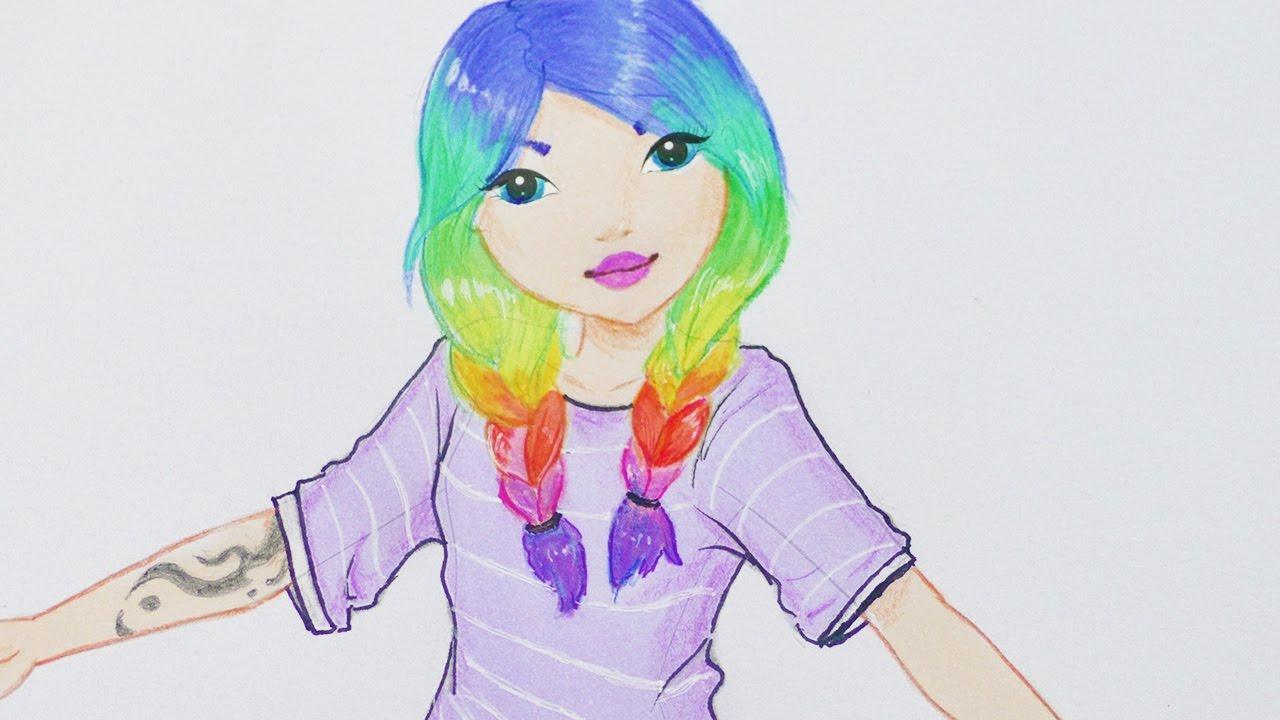 Rainbow Hair Girl Malen Topmodel Malbuch Ein Susses Madchen