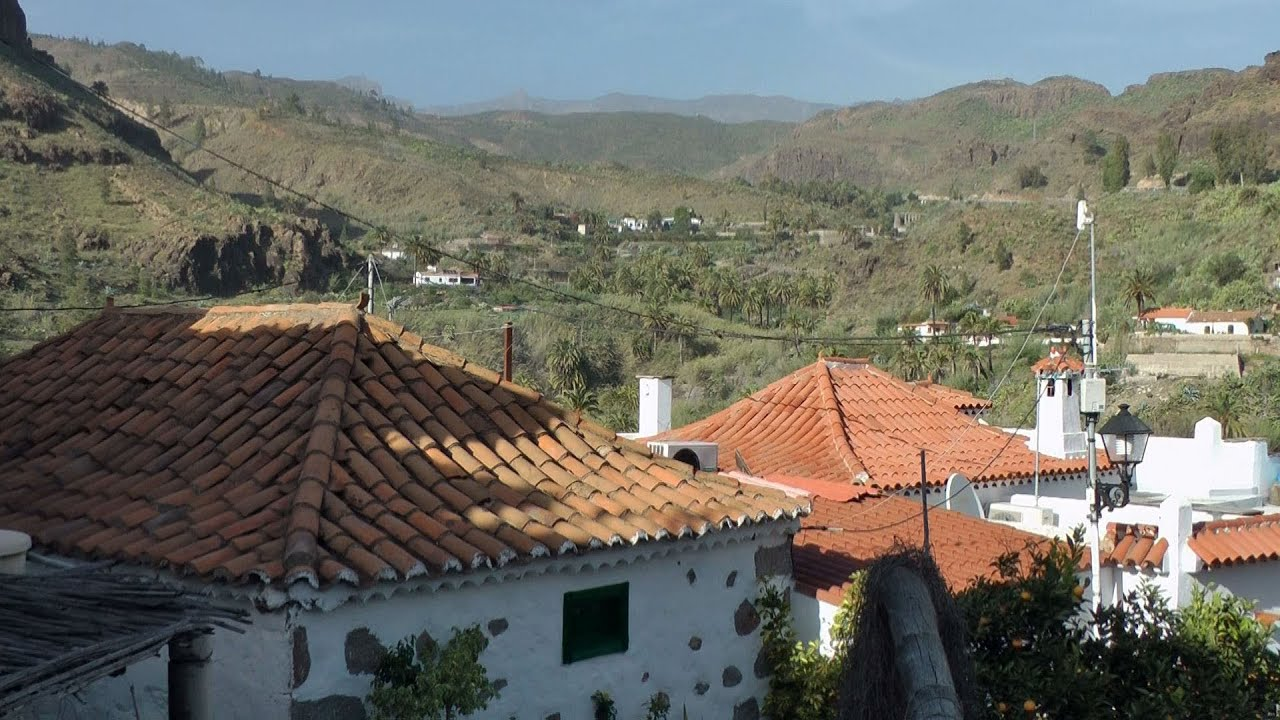 Spain Gran Canary Island Mountain Village Fataga In The Valley