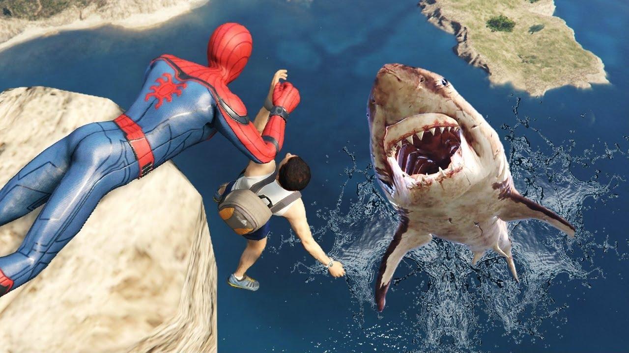 GTA 5 Crazy Ragdolls | MEGALODON vs Spiderman ep.56 (Flooded Los Santos) thumbnail