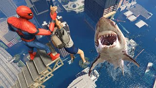 GTA 5 Crazy Ragdolls | MEGALODON vs Spiderman ep.56 (Flooded Los Santos)