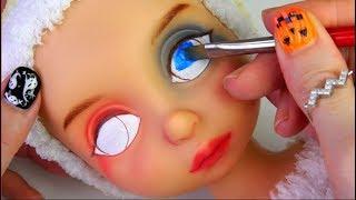 ★할리퀸 리페인팅 디즈니베이비돌 라푼젤★Harley Quinn Repainting Disney Baby Doll Rapunzel/Halloween thumbnail