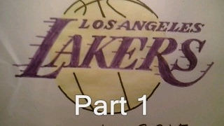 How To Draw Los Angeles Lakers Logo Part 1 Sign Symbol Emblem Easy Tutorial Step By