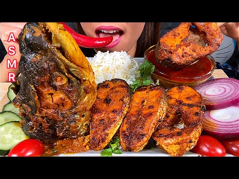 EATING FISH CURRY, FRIED FISH, HOT CHILLI, RAW ONION & RICE ASMR Eating Sounds