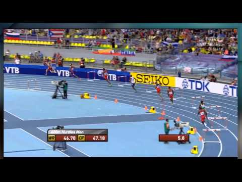 Moscow 2013 400M Hurdles Men Final Jehue Gordon 47.69 WL