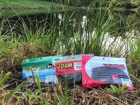 Yamamoto Senko v.s. Zoom Worm v.s. Yum dinger.  Small pond Bass fishing