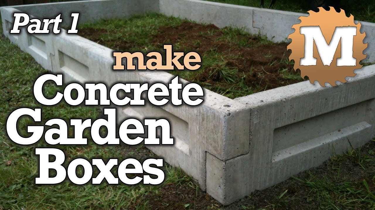 Amazing Concrete Garden Boxes PART 1- DIY Forms To Pour And Cast Cement Planter Link Together Beds - YouTube