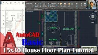 Autocad 15x30 House Floor Plan Tutorial For Beginner
