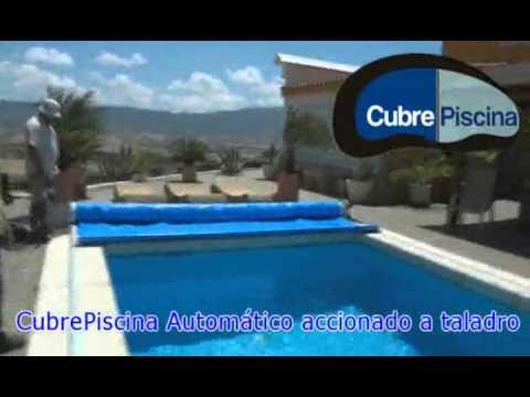 Cubre piscina semi automatico a taladro youtube for Cubre piscinas automatico