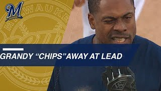 Granderson chips tooth sliding into second on double