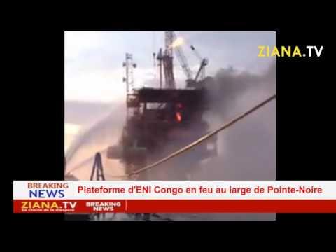 """URGENT. ENI CONGO, la plateforme """"Funkunda"""" en feu au large de Pointe-Noire."""