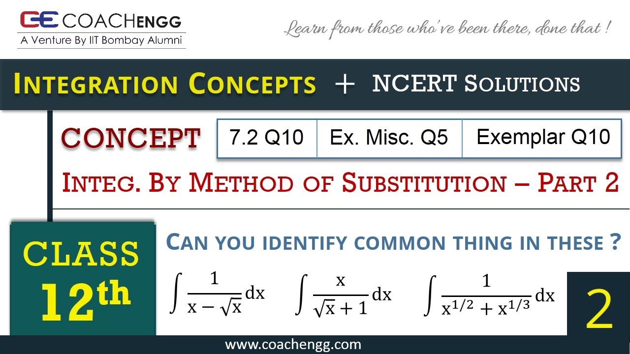 Worksheets Integration By Substitution Worksheet indefinite integration part 2 class 12 cbse jee main advanced youtube
