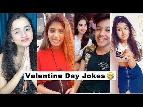 Valentines Day Jokes Funny Tiktok Videos   Single Life   Jannat, Riyaz, Sana, Somya, Faisu