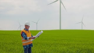 Wind Turbine Inspection at Windmill Farm | Stock Footage - Videohive