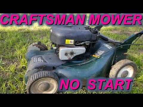 Craftsman Briggs lawn mower not starting backfire - YouTube