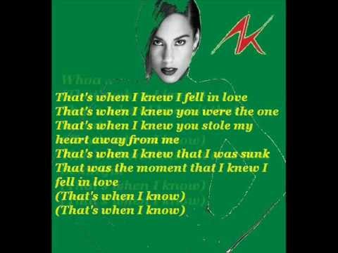 Alicia Keys - That's When I Knew  (with lyrics)