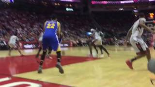 SITTING COURTSIDE ROCKETS VS WARRIORS GAME