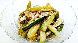 Закуска из жареных огурцов по корейски! Рецепт!