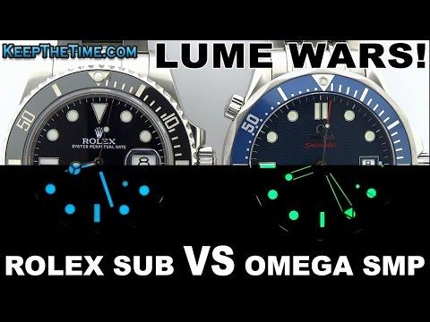 LUME WARS! #8 | Rolex Submariner (Chromalight) VS Omega Seamaster (Super-LumiNova)