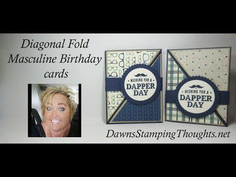 Diagonal Fold Masculine Birthday cards