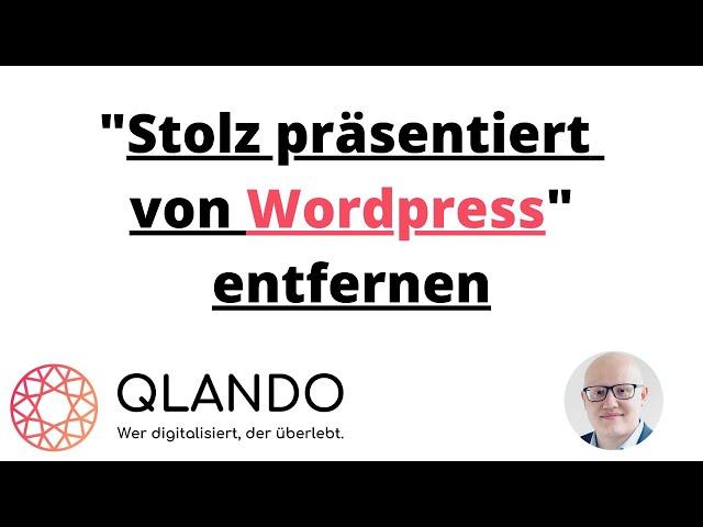 Stolz präsentiert von Wordpress entfernen | QLANDO