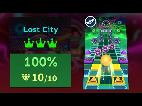Rolling Sky Bonus Level 22 - Lost City 100% Clear All Crowns & Gems