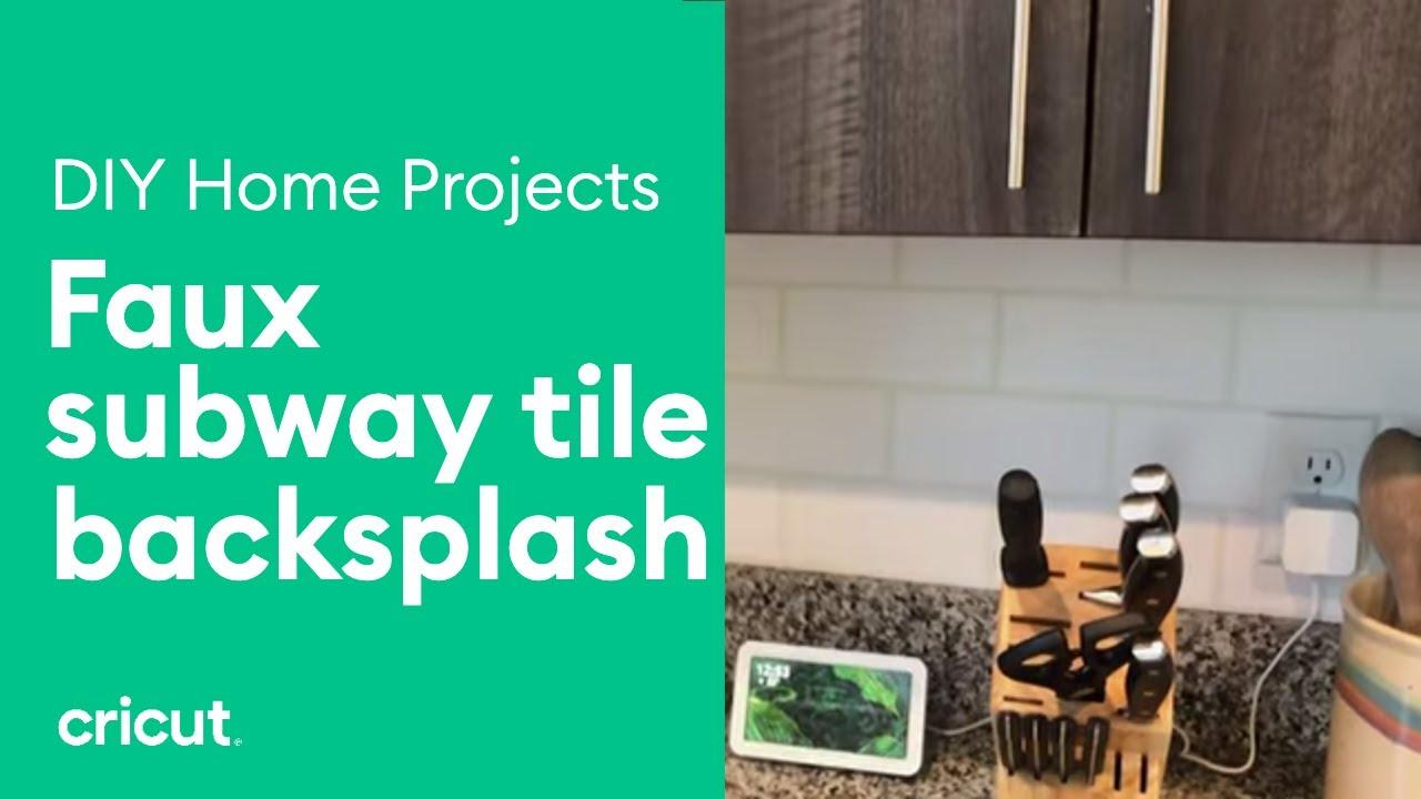 create a faux subway tile backsplash using vinyl stickers