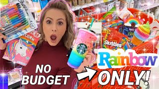 NO BUDGET 🌈 RAINBOW ITEMS ONLY ✨ SHOPPING SPREE!