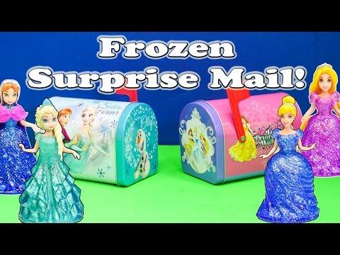 FROZEN Disney Frozen + Disney Princesses Huge Surprise Mail Funny Surprise Toys Egg Video