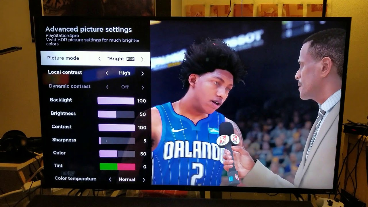 NBA 2K18 PS4 Pro 4K HDR:The Best Calibration for TCL Roku TV 55p605 model