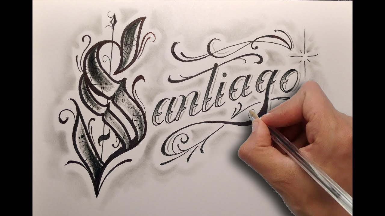 Dibujando letras chicanas santiago drawing chicano lettering nosfe ink tattoo youtube - Letras para tatuar ...